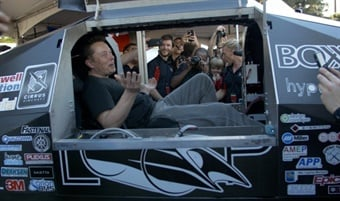SpaceX and Tesla Motors co-founder Elon Musk, who is the driving force behind the Hyperloop competition, took the opportunity to sit in the Badgerloop pod while touring the various team's booths. The team purposefully built its pod to fit Musk, who is 6 feet 2 inches tall. Photo: Badgerloop
