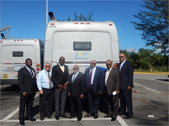 (L-R) Alex Linton, Barbados Transit Authority Director; James Fourcade, BCT Director of Maintenance; Michael Lashley, Barbados Minister of Transportation; Abdul Pandor, Barbados Transport Authority Chairman; Barbados Consul General Colin Mayers; Corwin Gibbs, BCT Director of Bus Operations; and Chris Walton, Director of Broward County Transportation. The Barbadian government is in the process of restructuring its transit system and asked to observe BCT's daily operations. Photo courtesy of BCT.