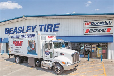 Beasley Tire offers mobile services that perform on-site alignment and tire balancing on large trucks and mounting and balancing tires on small vehicles.