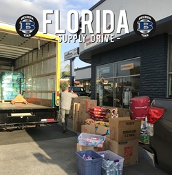 For three days Becker Tire stores collected supplies to send to hurricane victims.