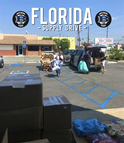 Becker Tire filled three 26-foot trucks with supplies, and drove them from California to Florida.