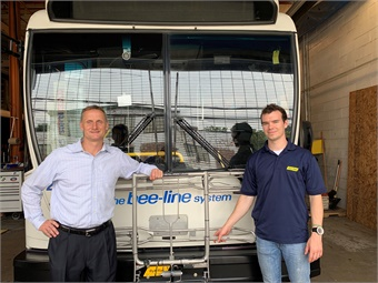 Byk-Rak National Sales Representative, is joined by Michael White, transit consultant with White & Associates, as they show off one of the new racks on a Westchester County transit bus. The county retrofitted 247 buses with the Byk-Rak product.