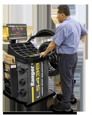 BendPak says the LS43B wheel balancer by Ranger optimizes outboard and inboard wheel weight placements with exclusive Laser-Spot technology for balances within hundredths of an ounce.