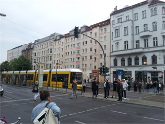 Berlin streetscape with tram.