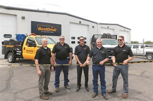 Managing Director Sonny Simpson (left) celebrated the opening of the first BestDrive location in Idaho in June with Mike Newberry, Jeff Wolcott, Joe Shannon (Boise store manager) and Kevin Bowman.