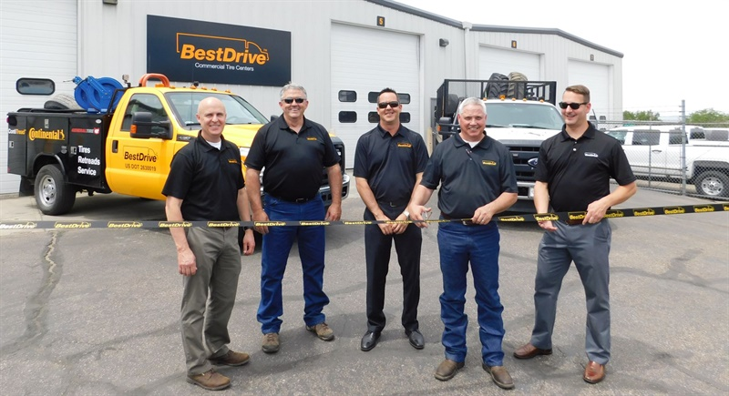 (from left): BestDrive Managing Director Sonny Simpson celebrates the opening of the newest BestDrive service center in Boise with Mike Newberry, Jeff Wolcott, Joe Shannon (manager of the Boise outlet) and Kevin Bowman.