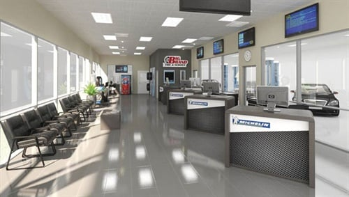 The 20th Big Brand Tire & Service store will feature a new interior design when it opens in California's Simi Valley in September. This artist's rendering shows the new look. The Camarillo-based company plans to convert all stores to the new design over two years.