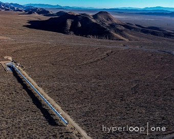 Bird's-eye view looking deep into the North Las Vegas desert. Photo: Hyperloop One
