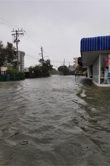 Flood waters surrounded a Black's Tire store in Lumberton last week.