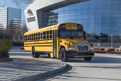 Blue Bird cites lower upfront costs and ease of fueling accessibility as key factors in the growing sales of its Vision Gasoline school bus.