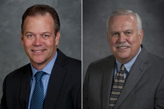 Jeff Merten (left) has been named VP of Blue Bird Parts & Service, and Bill Landreth is stepping into a new role as executive director of parts sales.