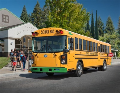 A Nevada bill would make school districts eligible for funds covering 75% of the cost of buying electric buses or installing the charging infrastructure. Shown here is a Blue Bird electric school bus delivered to a California school district.