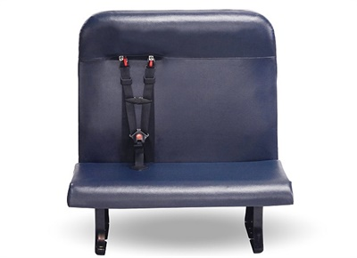 The NextGen seat back frame is secured by four bolts, which can be removed to replace the seat back with one of the other options offered, including child-restraint only, as shown here.