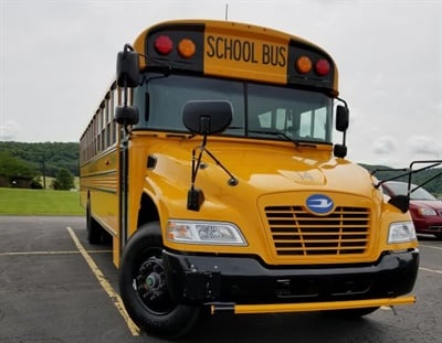 Barrington says customizingbuses to meet a variety of special needs is the foundation of Blue Bird's operations.Shown here isone of NorthCrawford (Wis.) School District's Blue Bird buses. Photo courtesy Blue Bird