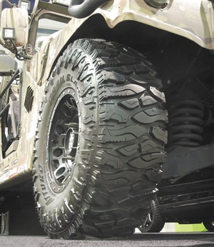 The size 37x12.50R17LT Trail Blade Boss from Atturo Tire Corp. fits nicely on a Jeep, Ford F-150 Raptor, standard Hummer (pictured), and other lifted vehicles. The tire is manufactured in Taiwan.