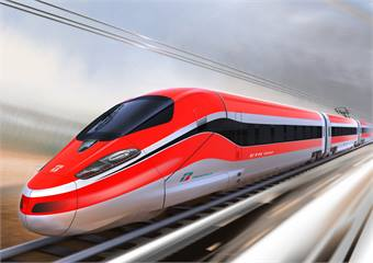The V300Zefiro is the fastest train in Europe and is capable of reaching commercial speeds of up to 223 miles per hour.