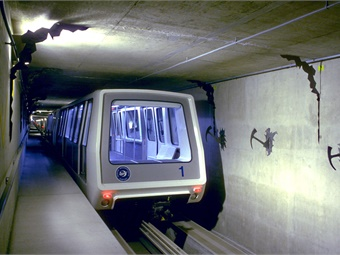 The Bombardier INNOVIA APM automated people mover system at Denver International Airport.