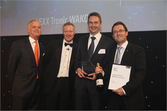 (from left) Tim O' Toole, First Group; Rory Bremner, Presenter; and Bombardier Transportation's Carsten Bopp and Richard Schneider.