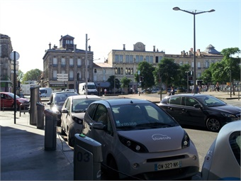 Electric car sharing in central Bordeaux.