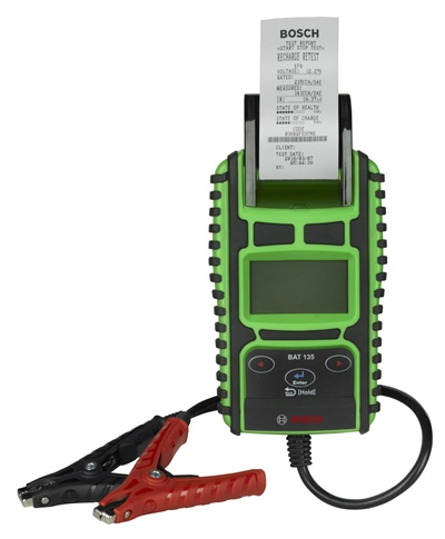 Bosch says the BAT-135 battery tester includes an integrated printer to capture test results for customer records such as presenting the state of health and state of charge percentage of the batteries to ensure optimal efficiency and usage. Photo courtesy of Bosch