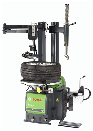 Bosch says its new TCE 4275 swing arm air motor tire changer is available with a helper assembly, ergonomic bead breaker or both options to make tire changing easy.