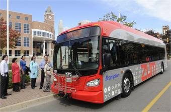 Photo of New Flyer BRT bus courtesy Brampton Transit based in Ontario, Canada.