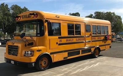 Shown here is one of Brawley Elementary School District's three new electric buses.Photo courtesy Fred Cornejo