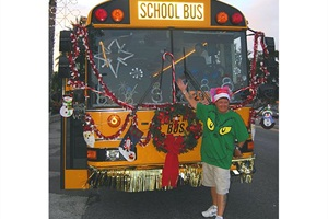 "The most ""liked"" story on SBF's Facebook page featured photos of school buses decorated for the holidays. Photo by Meredith Bray, transportation specialist at Gus Stavros Institute in Pinellas Park, Florida."