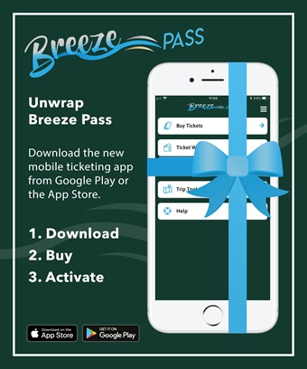 Passengers using BreezePass can pay for tickets using a credit or debit card, or via digital payment services such as Masterpass and Apple Pay.