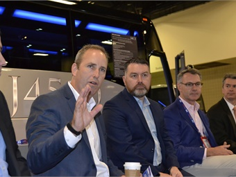 MCI's Brent Maitland discussed all of the latest innovations at the company, including its plans to electrify all of its motorcoach models.