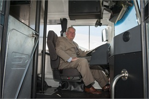Brian Owens, commissioner of the Georgia Department of Corrections, boards one of the buses. The event was held at the Georgia Department of Corrections' State Offices South at Tift College.