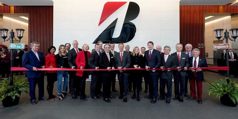 Bridgestone and Nashville leaders at the ribbon-cutting ceremony to open the new Bridgestone Tower.
