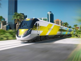 Lyft announced a partnership with Brightline, a privately owned intercity passenger rail service in South Florida. Photo: Brightline