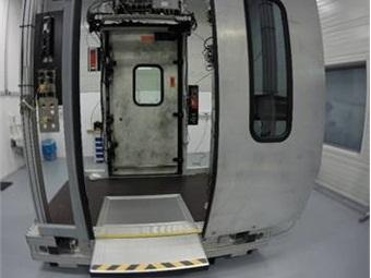 Brigthline's retractable gap filler extended on a prototype door.
