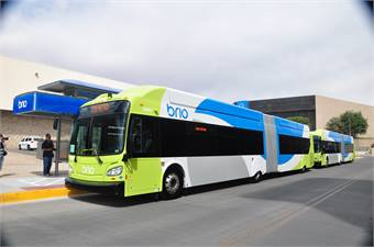 The low-floor New Flyer Brio vehicles will run on compressed natural gas, have three doors for faster boarding, free Wi-Fi, two TV monitors for passenger information, three interior bicycle racks, two wheelchair positions and signal prioritization.
