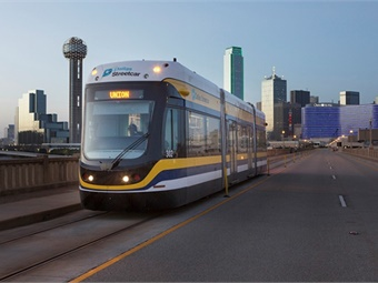 A Brookville Liberty Streetcar crosses the Houston Street Viaduct in Dallas during the summer of 2015. The company is shipping its third streetcar to Dallas the week of June 27, 2016.