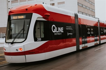 A BROOKVILLE Liberty Streetcar undergoes testing procedures along Detroit-based M-1 RAIL's QLINE in early 2017. (Photo Courtesy of M-1 RAIL)