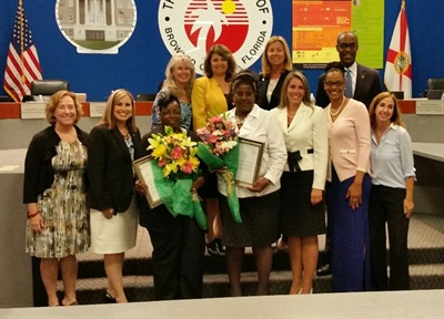 Brinson and Ritter are pictured here with the school board and Runcie.