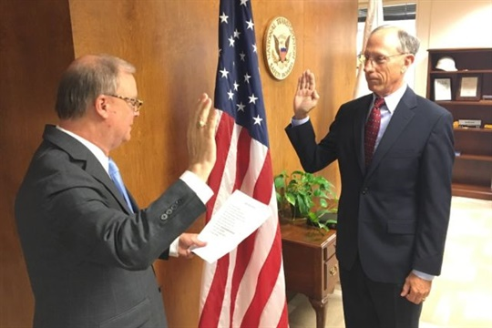 Bruce Landsberg (right) was sworn in as an NTSB member and vice chairman by agency Chairman Robert Sumwalt on Tuesday. NTSB photo by James Anderson
