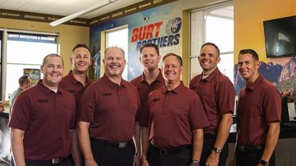 It's the Burt Brothers: from left, Jason Burt, Jeremy Burt, Wendel Burt, Jake Burt, Ron Burt, Brandon Burt and Cory Burt.