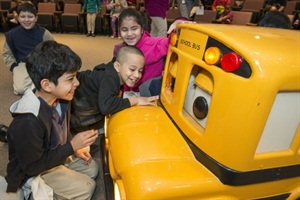 Students at Houston's Elmore Elementary School had fun while learning about safety with Buster the School Bus last week.