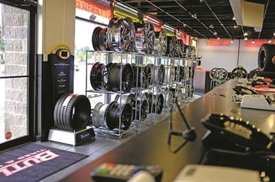 Custom wheel displays are a highlight of every Butler Tire showroom. The store in Buckhead is pictured.