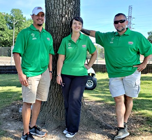 (from left): Chris Montoya, manager of Interstate Batteries' Values Mission*Hiring Initiative for veterans; Stacey Hargrave, an Interstate Batteries volunteer; and Gus Cabarcas, a volunteer from Hope for the Warriors.