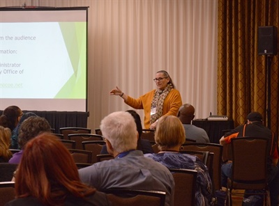 Ilah Feeney, a program administrator for the Solano County Office of Education, shared support strategies for special-needs transporters during the CaliforniaAssociation of School Transportation Officials' annual conference.