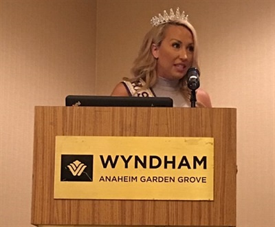 Jamie Swetalla, Miss California International 2016, gave the keynote speech, sharing how competing in pageants led to her philanthropy work for Children's Miracle Network Hospitals. She also said that she drew inspiration from her mother, who is a longtime school bus driver.