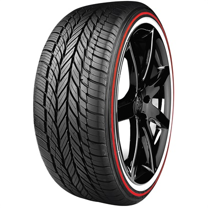Vogue's Limited Edition Red Stripe tire is available in three sizes, in honor of the company's 105th anniversary:235/55R17, 245/40R20 and 285/45R22.
