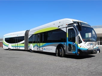 Foothill Transit's 60-foot-long buses have been repowered with new Cummins ISLG 320 horse-power engines. CCW