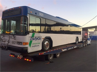 The 21st and final ZEPS bus loaded and ready to be delivered to IndyGo.