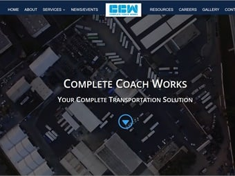 Complete Coach Works' revamped website features a streamlined and simplified design.