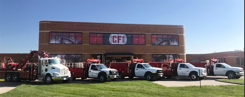 The CFI Tire Service warehouse in Des Moines, Iowa, occupies 230,000-square-feet and 13 acres. The dealership runs five service trucks out of the Des Moines location, offering 24/7 roadside service in an 80-mile radius around the city. Photo courtesy of CFI Tire Service.